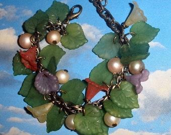 flower bracelet FREE SHIPPING Mori Girls or Woodland flower and leaves
