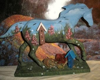 Custom Trail of the Painted Ponies - Birdhouse Garden - OOAK original painting