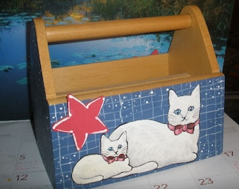 Cats mail holder  - hand painted - Cute OOAK