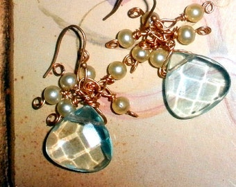 Luscious earrings Bridal or special occasion aqua and pearl