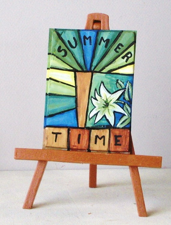 ACEO art card original artwork  Summer Time   polymer clay