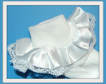 Gorgeous Satiny and Lace White Ruffle Perfect for Baptisms, Christenings, Weddings, Flower girl, Pageant