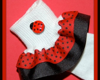 Lucky LADYBUG Polka Dot Double Ruffle girls Socks... baby, toddler, girs, and woman's sizes - customize by picking bottom ribbon color