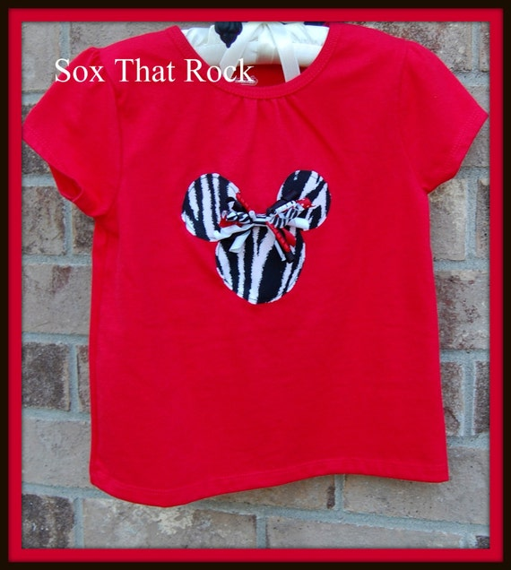 Sale minnie mouse zebra applique red tee shirt with for Applique shirts for sale