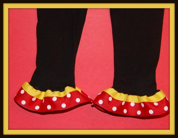 CLEARANCE SALE...Mickey Mouse-Inspired Red and Yellow Ruffled Leggings-SWEET....