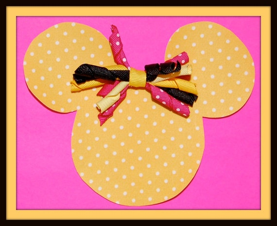 SaLE-DIY Do-it-Yourself Yellow and White Dots Minnie Mouse Applique and Korker Bow Kit...NO Sew, Iron-On-Great for Disney Vacations