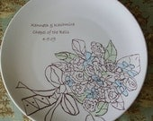 Wedding, Custom Wedding Gift, Serving, Personalized Bridal Bouquet, China Cake Plate, Dish, Colors you choose