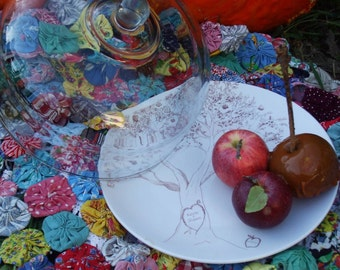 Personalized Plate, cake plate, family tree, serving, wedding gift, anniversary gift, apple tree, apples, dish