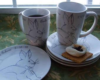 Spring, Bunny, Rabbit, Baby Gift, Dishes, New Baby, Baby Shower, Personalized Mugs and Dessert Plates, Set for 2