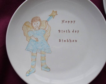 Littel Girl, Valentine, Happy Birthday Plate, plate, personalized birthday plate, fairy plate, dish, dish