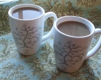 Tree of life, personalized gift, wedding, mugs, plates, anniversary, ketubah, jewish, dishes, custom dessert set for 2 ( 2 mugs 2 plates)