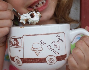 Valentine, Wedding Couples Gift, Personalized Ice Cream Bowls, Family Gift, Gift, Ice Cream Truck bowls with handles,  (set of 2)