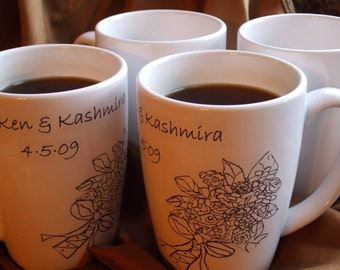 Couples Gift, Custom, Personalized, Mr. & Mrs., Wedding Gift, Bouquet Mugs, Personalized Gift (Set of 2)