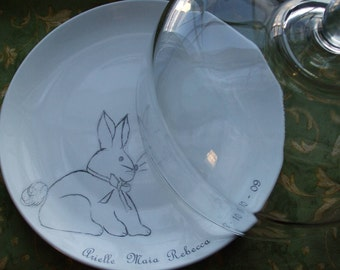 Bunny, Baby Gift, Serving, New Mom, New Parents, Spring Cake Plate, Personalized Cake Plate,Keepsake Cake Plate with Glass Dome