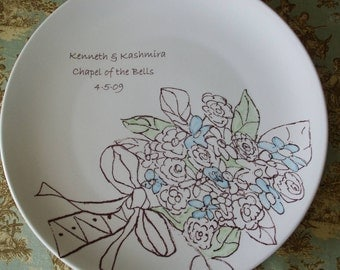 Holiday Gift, Wedding, Custom Wedding Gift, Serving, Personalized Bridal Bouquet, China Cake Plate, Dish, Colors you choose