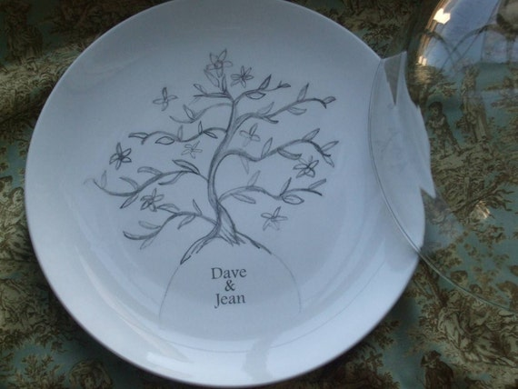 Customized, Tree of Life, Ketubah, Wedding Gift for Couple, Anniversary Gift, Serving, China Cake Plate with Dome