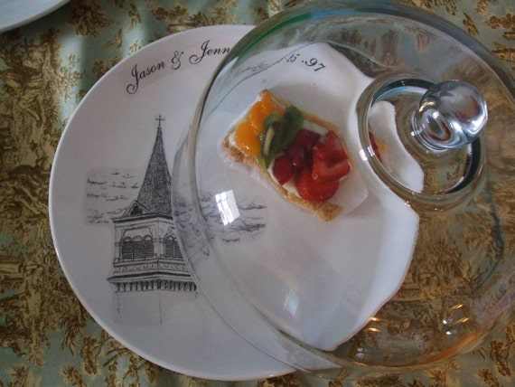 Wedding Gift, Wedding Decor, Serving, Steeple, Church, Custom Wedding Chapel Personalized Gift Cake Plate and Glass Cloche Dome