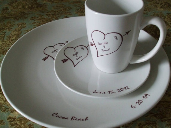 Wedding Gift Ideas For Chinese Couple : Bridal China, Dishes, Wedding Gift for Couple personalized valentine ...