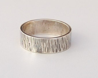 Bark Band, Sterling Silver