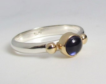 Water Sapphire Iolite Ring In 14k Gold And Sterling Silver