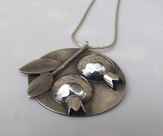 Pomegranates Pendant, Handmade in Sterling Silver, OOAK