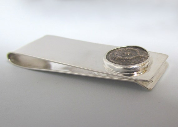Ancient Jewish Coin Money Clip Buisness Card Holder Sterling Silver