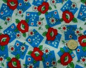 Vintage floral flannel fabric, red, white and blue