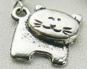 Winking Kitty Cat Metal Earrings