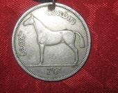 Authentic Rare Vintage Irish Celtic Horse Harp Coin Pendant