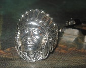 Silver Tone Indian Chief Ring Key Chain