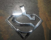 New Large Stainless Steel 47mm Superman Pendant Necklace