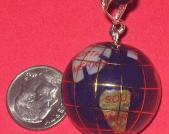 25mm Olympics  Lapis COLOR Multi Gemstone Inlay Globe Pendant