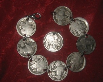 Authentic Vintage  Buffalo Nickel  Bracelet  Pendant  Set  Special Wholesale price