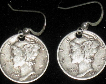 Authentic 900  Sterling Silver Coin Mercury LIBERTY  Dime Earrings