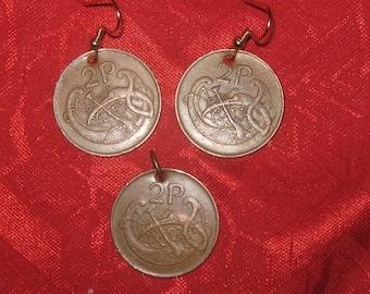 Authentic  Irish  Celtic Bird  /Harp Coin Pendant Earrings Set