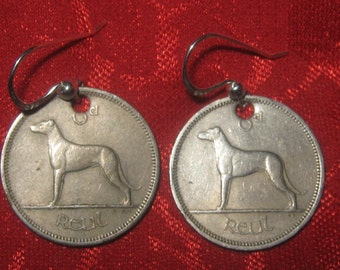 Authentic Vintage  Irish  Coin Greyhound/ Wolfhound Earrings