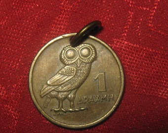 Authentic  Vintage  Greece Owl Phoenix Coin Pendant
