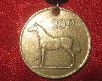 Authentic Vintage Irish Coin Harp Horse Pendant Necklace