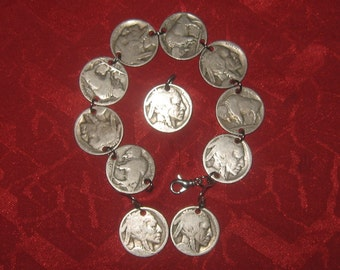 Authentic  Vintage  Buffalo  Nickel Bracelet Pendant Earrings Set