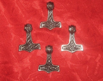 New Wholesale Lot of 4 Steel Thor's Hammer Pendants