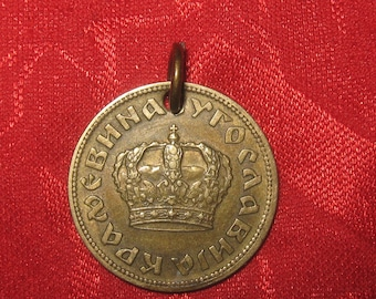 Authentic Vintage 1938 YUGOSLAVIAN Crown Coin Pendant  Necklace