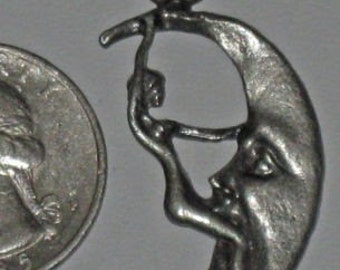 Lady Riding The  Moon  Lead Free  Pewter Pendant