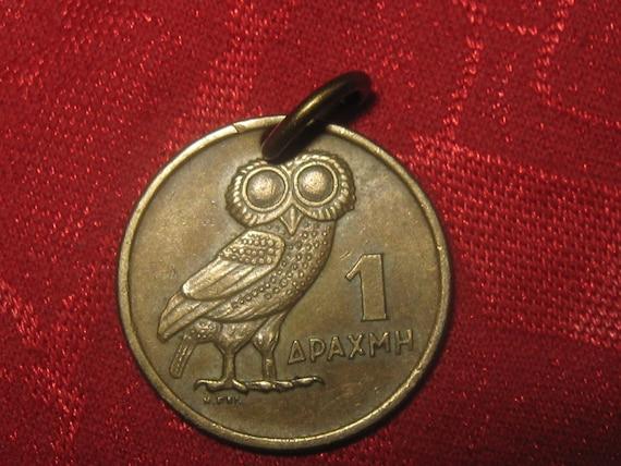 Authentic  Vintage  Greece Owl Phoenix Coin Pendant