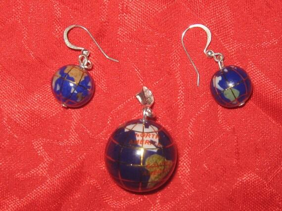 Medium Lapis  Inlay  Intarsia  Gemstone  OLYMPICS  World  Globe Pendant  Earrings  Set