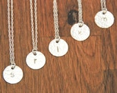 Bridesmaid Necklace Set Silver Initial Monogram Disc - Custom Personalized Hammered Set of 5