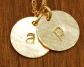 Gold 2 Disc Initial Necklace  - Charm Monogram Custom Personalized Hammered Handstamped