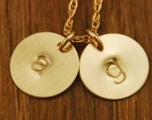 Gold Mom Necklace - Initial Monogram 2 Charm - Custom Personalized Disc Necklace
