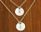 Silver Initial Monogram Disc Necklace Set - Custom Personalized Sterling Necklaces