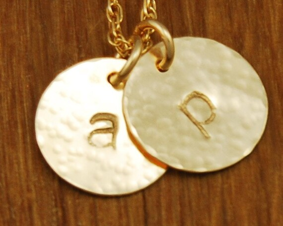 gold initial disc charm monogram necklace custom
