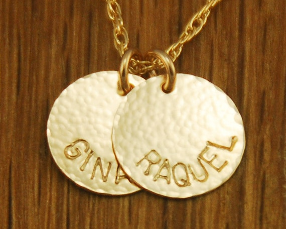 Handstamped Personalized Gold Mom Charm Necklace Kids Names - 2 Custom Gold Discs Childrens Names